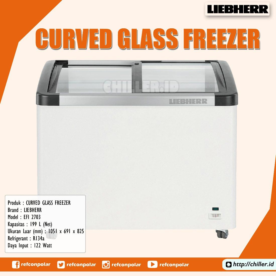 EFI 2703 Liebherr Curved Glass Freezer
