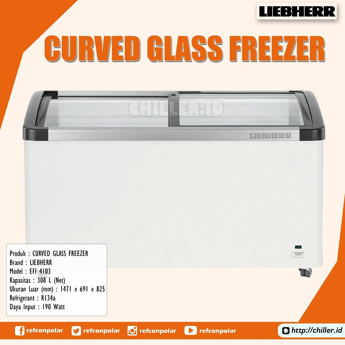 EFI 4103 Liebherr Curved Glass Freezer