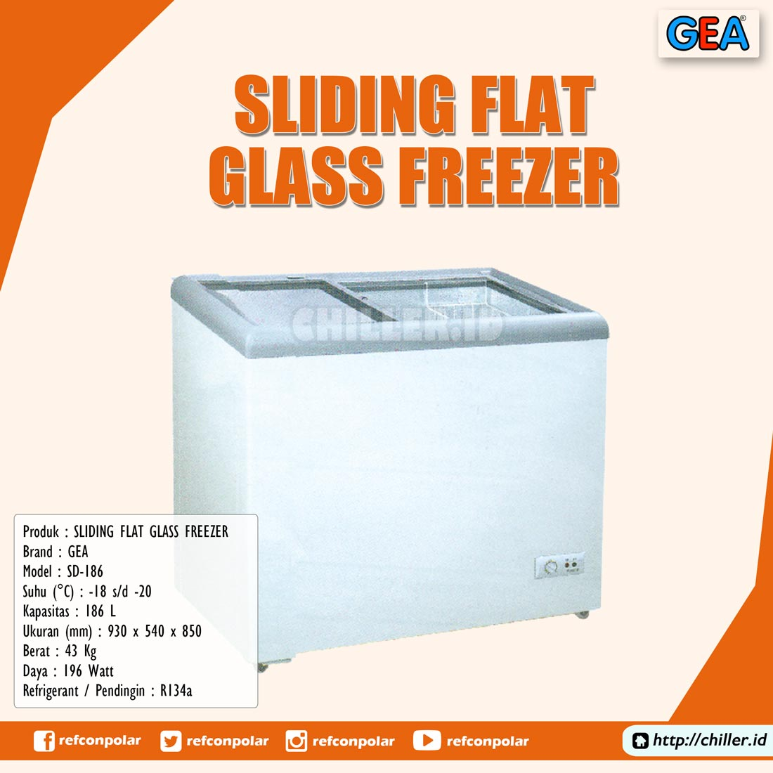 SD-186 GEA Sliding Flat Glass Freezer