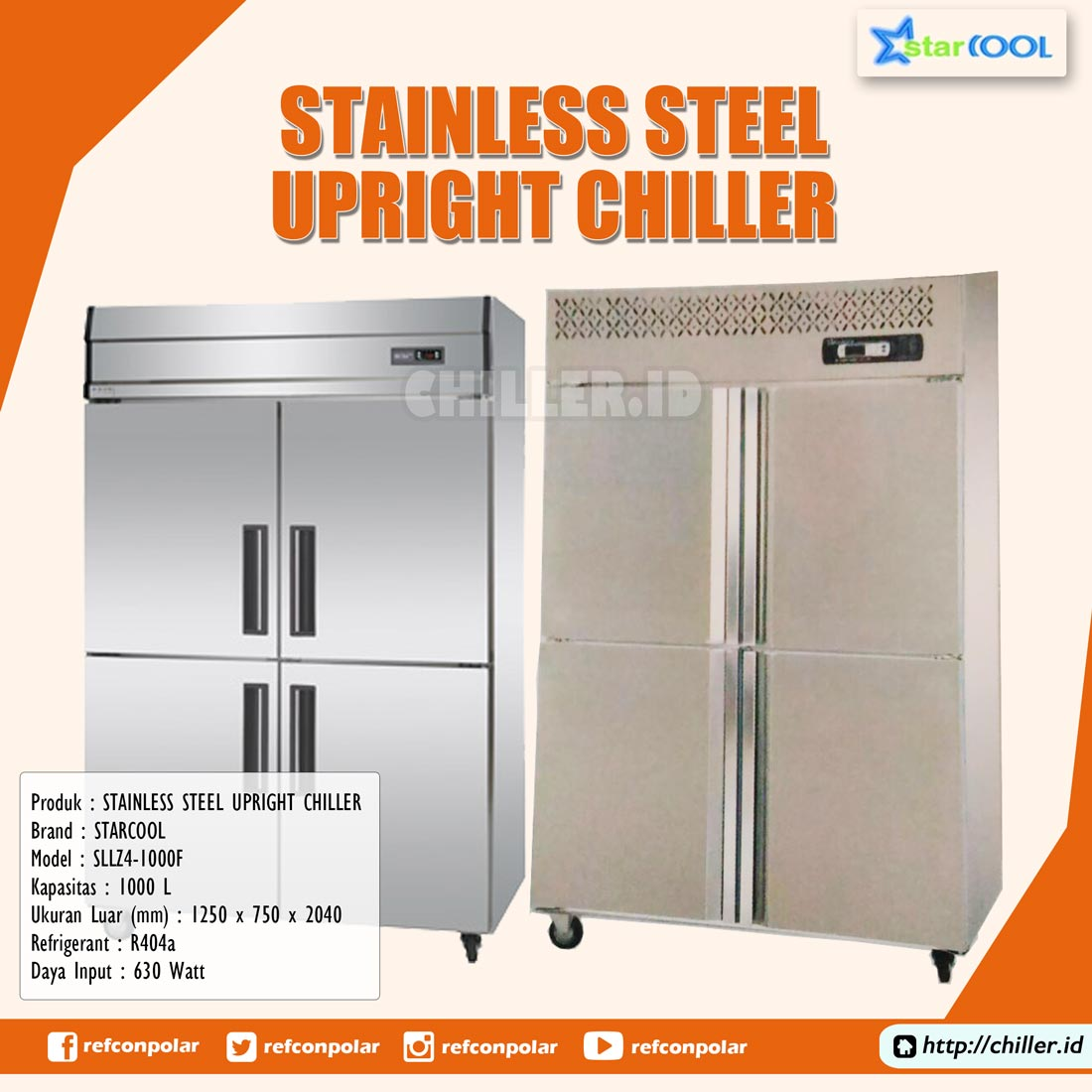 SLLZ4-1000F STARCOOL Stainless Steel Upright Chiller