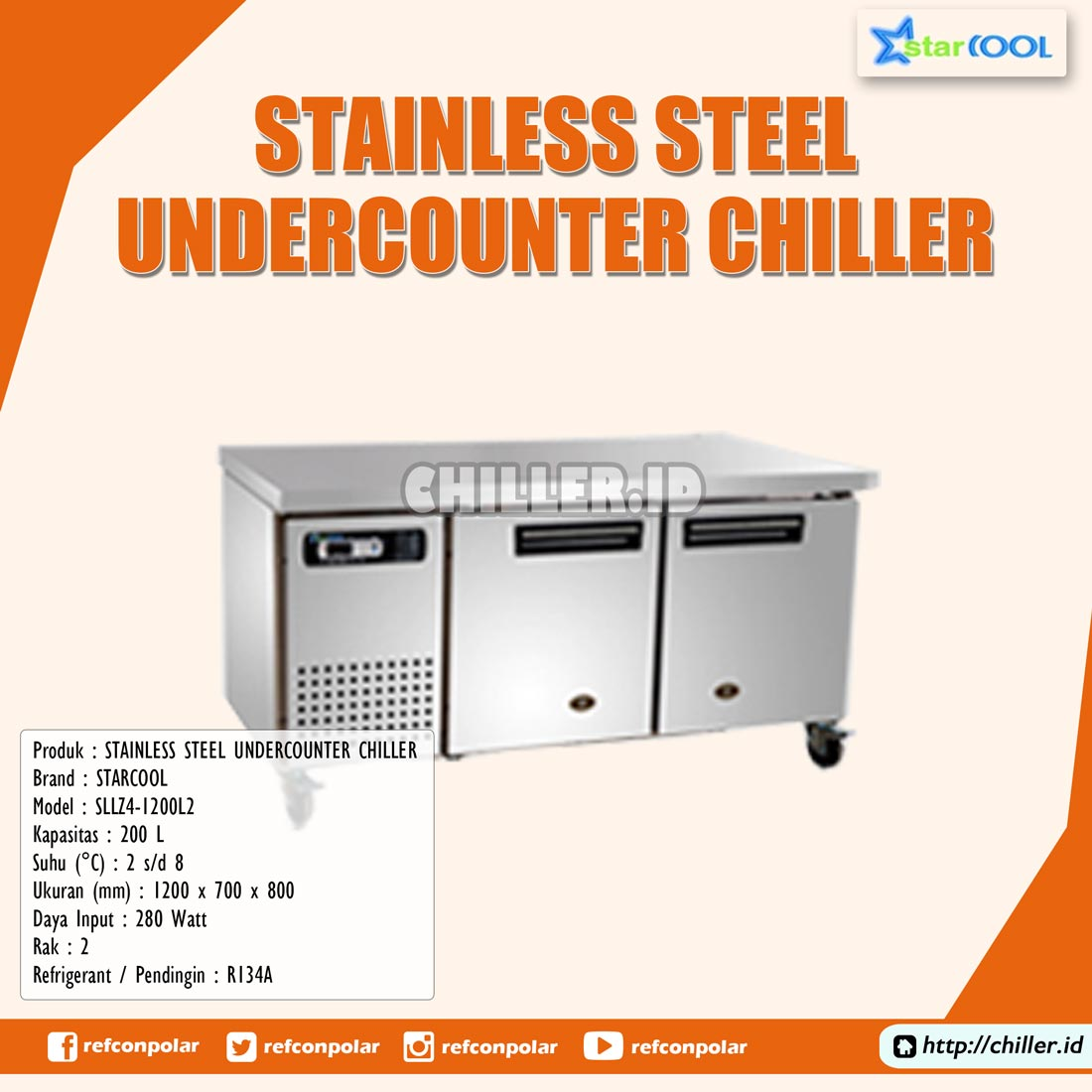 SLLZ4-1200L2 STARCOOL Stainless Steel Undercounter Chiller
