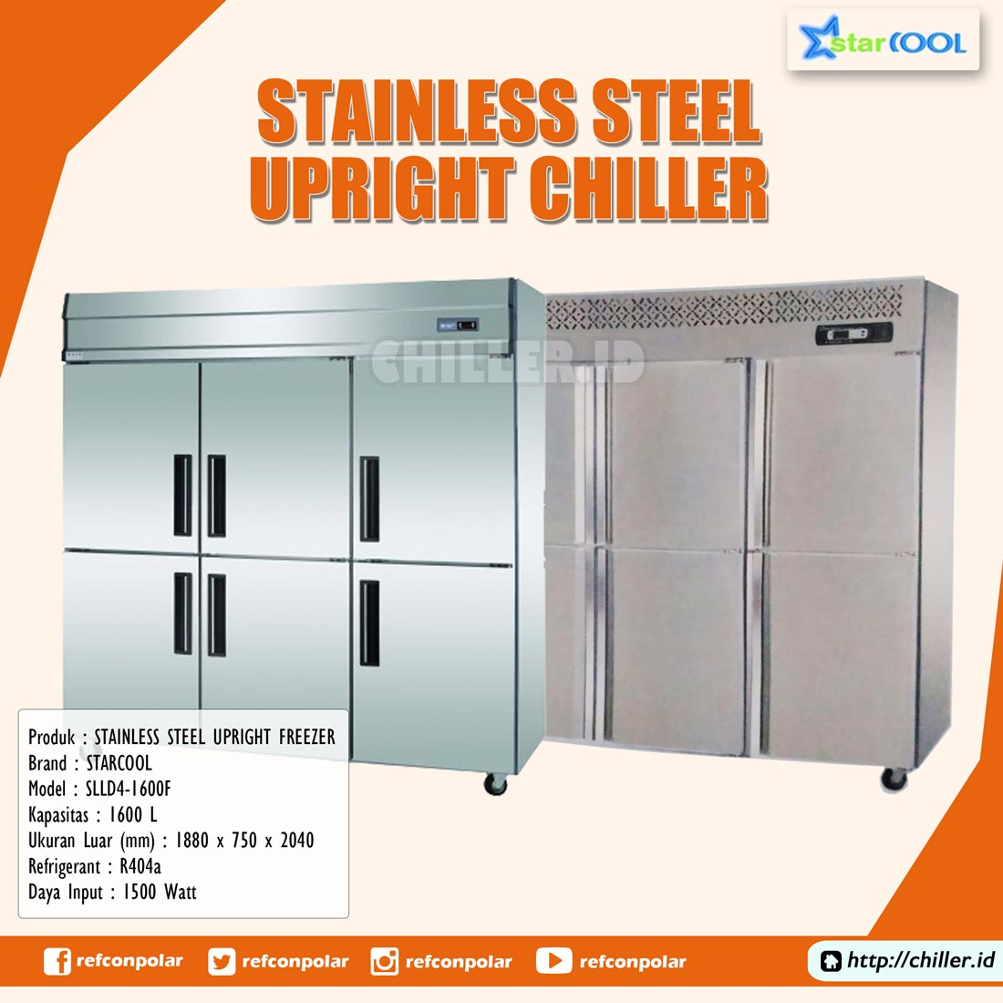 SLLZ4-1600F STARCOOL Stainless Steel Upright Chiller