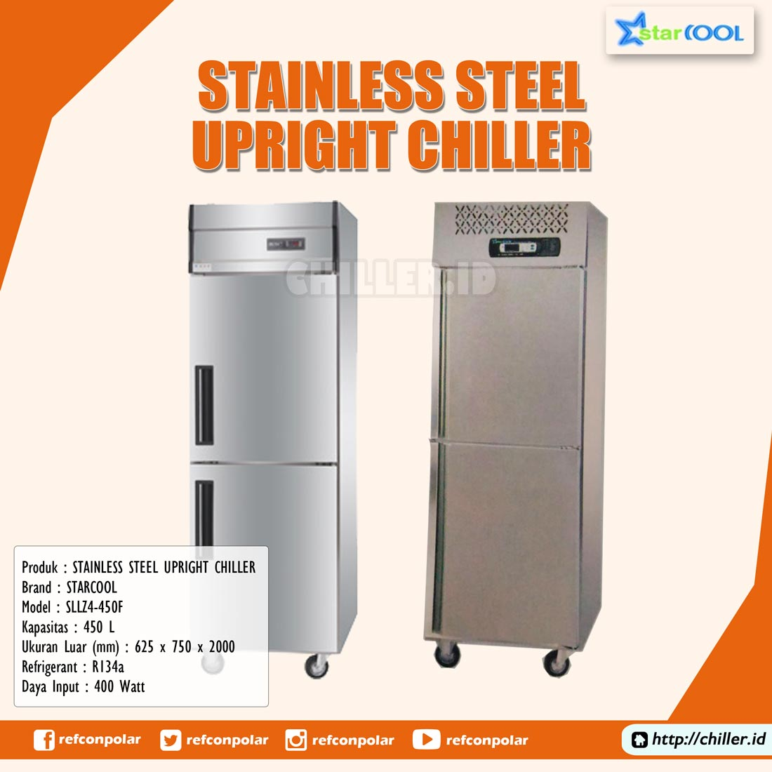SLLZ4-450F STARCOOL Stainless Steel Upright Chiller
