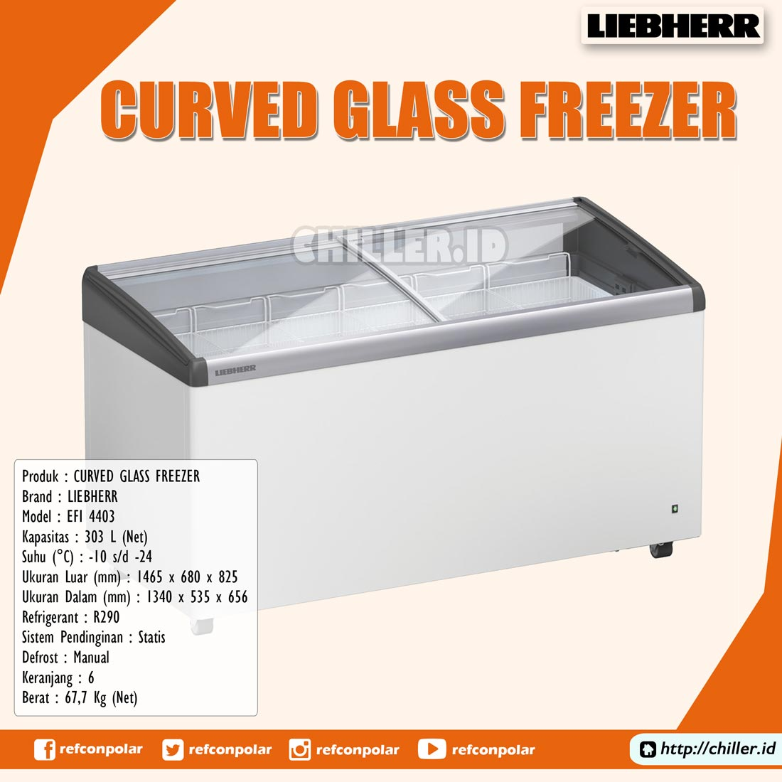 Jual EFI-4403 Liebherr Curved Glass Freezer