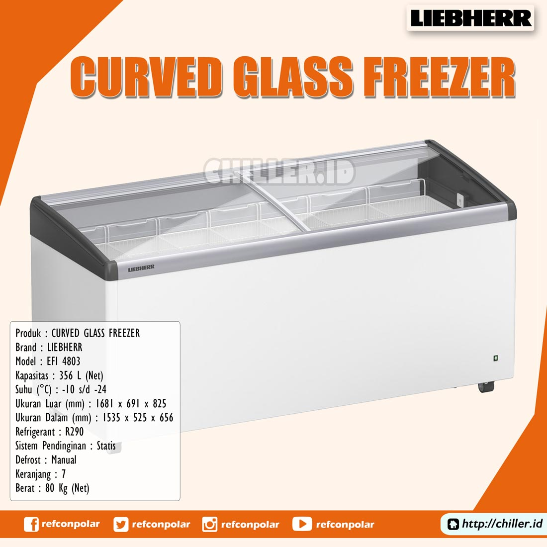 Jual EFI-4803 Liebherr Curved Glass Freezer